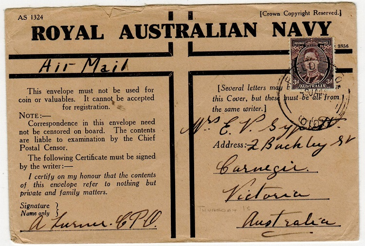 AUSTRALIA - 1945 3d rate use of