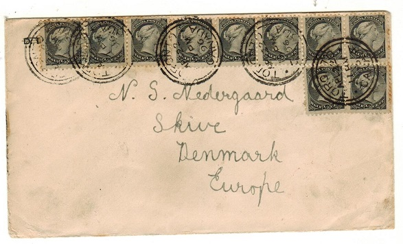 CANADA - 1896 5c rate (1/2a x10) cover to Denmark used at TORONTO.