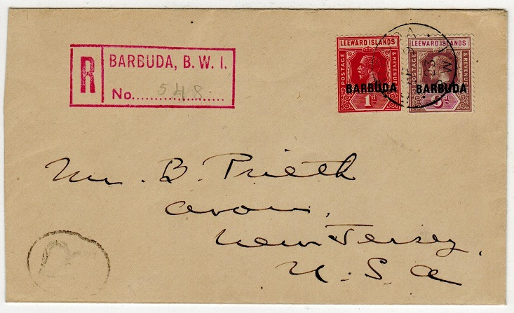 BARBUDA - 1923 7d rate registered cover to USA.
