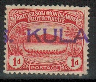 SOLOMON ISLANDS - 1908 1d red (SG 9) cancelled by part S.S.KULAMBANGRA maritime h/s.