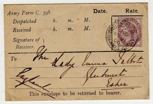 TRANSVAAL - 1900 1d rate use of ARMY FORM C.398 used at FPO/13 used at Germiston.