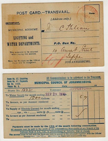 TRANSVAAL - 1901 stampless use of pre-printed commercial postcard struck JOHANNESBURG/PAID.