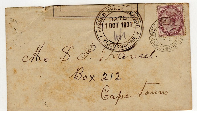 TRANSVAAL - 1901 local 1d rate censored cover used at FPO/16 at Klersdorp.