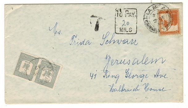 PALESTINE - 1942 underpaid cover to Jerisalem with 10m grey