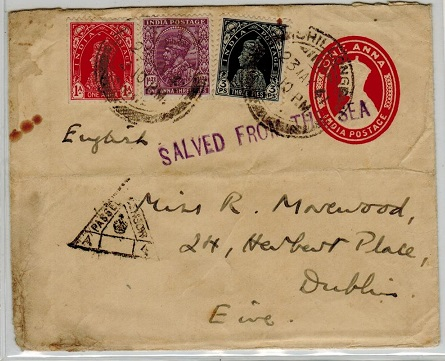 INDIA - 1941 1a red PSE uprated to Ireland struck SALVED FROM THE SEA.