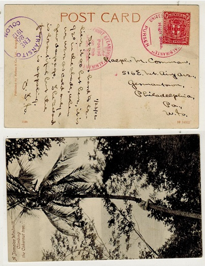 JAMAICA - 1912 1d rate postcard use to USA struck