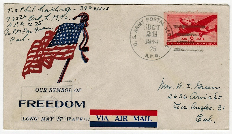 SOLOMON ISLANDS - 1943 use of US 6c at APO/25 to USA on freedom illustrated cover.