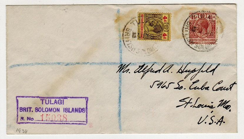 SOLOMON ISLANDS - 1938 8 1/2d rate registered cover to USA used at TULAGI.
