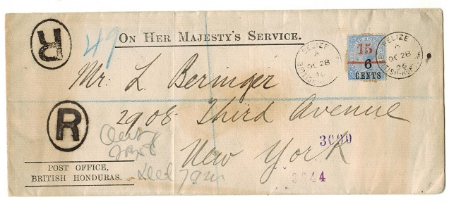 BRITISH HONDURAS - 1896 15c on 6c on 3d surcharge adhesive on registered OHMS cover to USA.