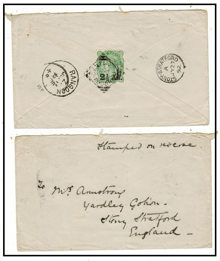 BURMA - 1892 2 1/2a on 4 1/2a yellow green Indian adhesive on cover to UK used at RANGOON CANT.