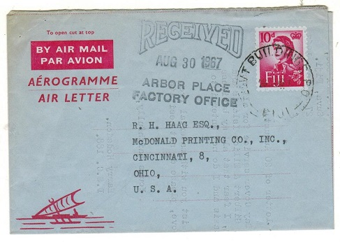 FIJI - 1962 10d red AIR LETTER to USA used at GOVERNMENT BUILDINGS P.O.  H&G 12.