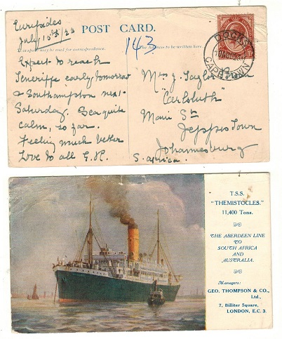 SOUTH AFRICA - 1923 1 1/2d rate postcard to Johannesburg used at DOCKS/CAPETOWN.
