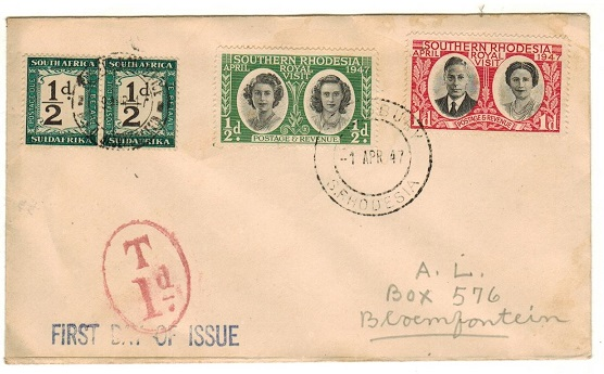 SOUTH AFRICA - 1947 inward underpaid FDC from S.Rhodesia with 1/2d