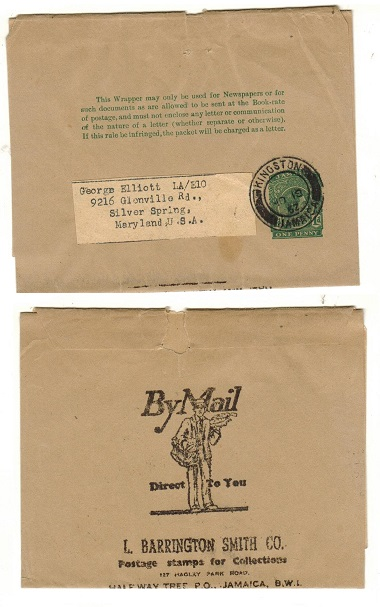 JAMAICA - 1938 1d green postal stationery wrapper to USA used at KINGSTON.  H&G 6.