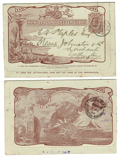NEW ZEALAND - 1903 1d brown illustrated LETTER CARD used locally from NZ/WAIKANAE.  H&G 5.