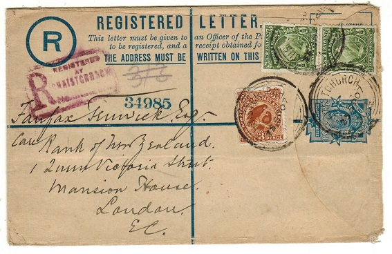 NEW ZEALAND - 1903 3d dark blue RPSE uprated to UK used at CHRISTCHURCH.  H&G 3.
