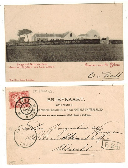 ST.HELENA - 1902 unstamped picture postcard to Uitrecht with 1c Nederland