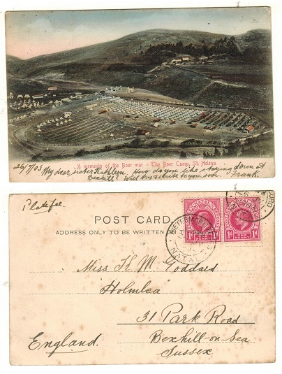 NATAL - 1903 St.Helena postcard marked