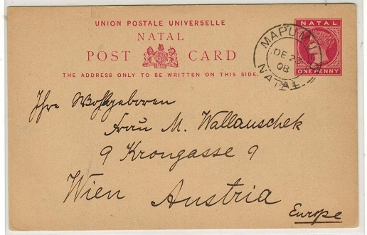NATAL - 1893 1d carmine PSC to Austria used at MAPUMULO.  H&G 7.