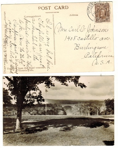 SOUTHERN RHODESIA - 1937 1 1/2d rate postcard to USA used at VICTORIA FALLS.