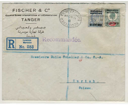 MOROCCO AGENCIES - 1914 20c/2d and 25c/2 1/2d EDWVII registered commercial cover to Switzerland.