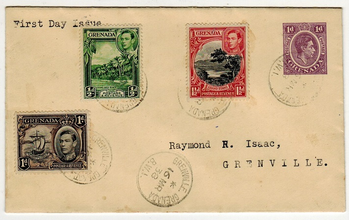 GRENADA - 1938 1d purple PSE used locally with 1/2d, 1d + 1 1/2d FDC use at GRENVILLE. H&G 1.