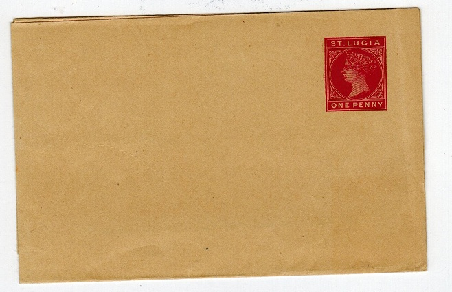 ST.LUCIA - 1887 1d carmine on buff postal stationery wrapper. Unused.  H&G 2a.