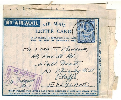 SOMALILAND - 1944 3a rate censored use of FORMULA letter card to UK used at E.A./APO 63.