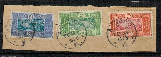 TOGO (French) - 1913 5c,10c and 25c