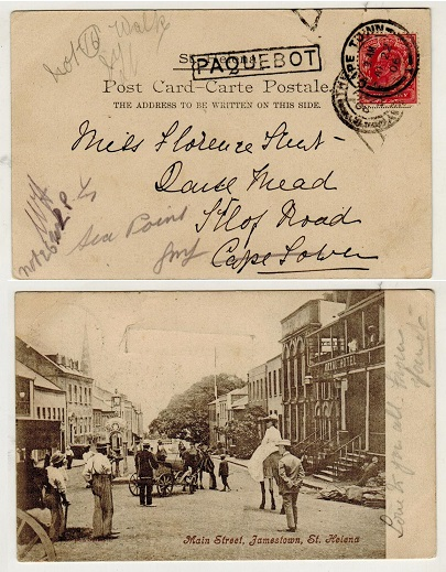 ST.HELENA - 1906 postcard to South Africa with GB 1d struck PAQUEBOT.