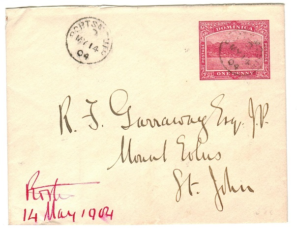 DOMINICA - 1903 1d carmine PSE addressed to Antigua used at PORTSMOUTH.  H&G 1.