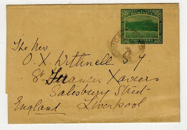 DOMINICA - 1903 1/2d green postal stationery wrapper to UK used at DOMINICA/GPO.  H&G 1.