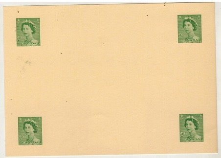CANADA - 1954 2c green postal stationery proof in green of four images (H&G type 20).