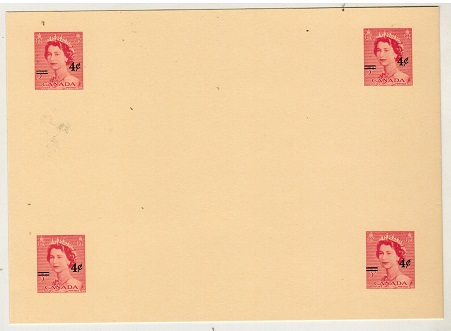 CANADA - 1954 4c on 3c postal stationery proof in carmine of four images (H&G type 20a).