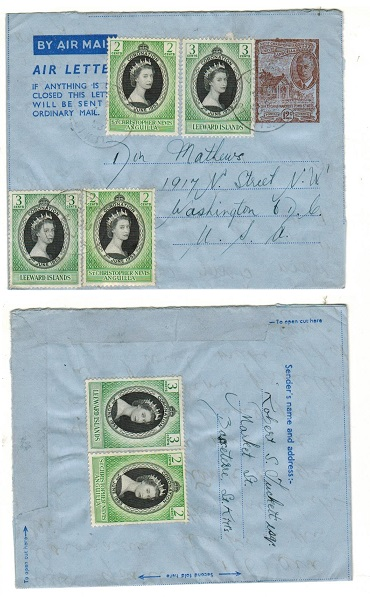 ST.KITTS - 1952 12c brown uprated postal stationery airletter to USA used at BASSETERRE.  H&G 1.