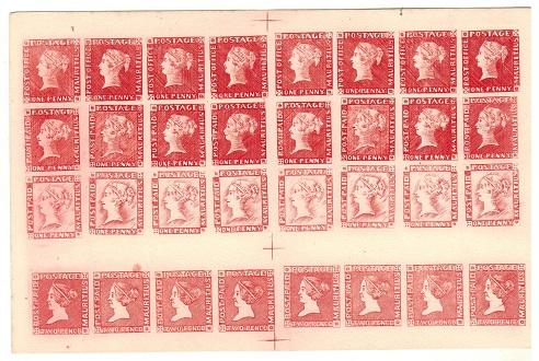 MAURITIUS - 1847-59 1d deep red REPRINTED