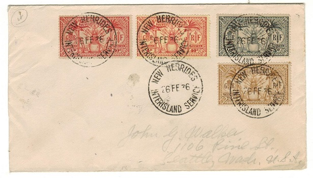 NEW HEBRIDES - 1936 French franked cover to USA used on INTERISLAND SERVICE.