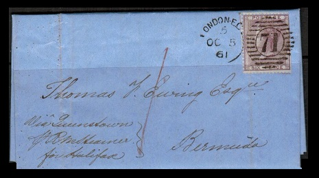 BERMUDA - 1861 inward 6d rate entire from UK.
