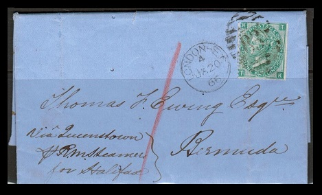 BERMUDA - 1866 inward 1/- rate entire from UK.