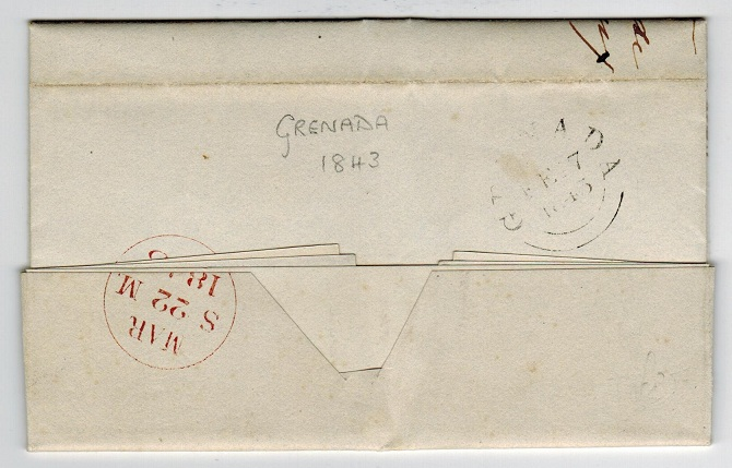 GRENADA - 1843 stampless entire to UK cancelled GRENADA at 1/- rate.