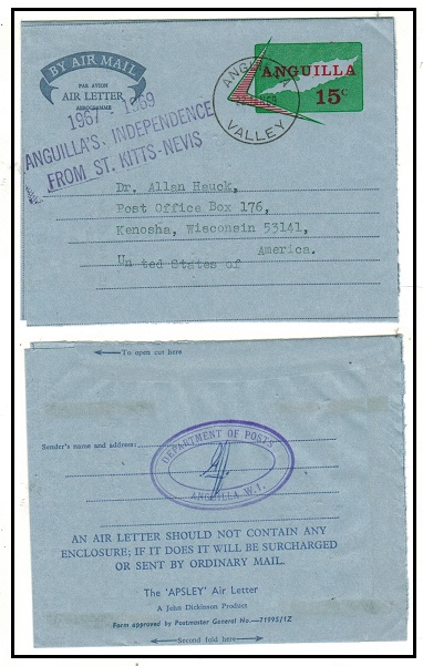 ANGUILLA - 1969 15c AIR LETTER genuinely used to USA with