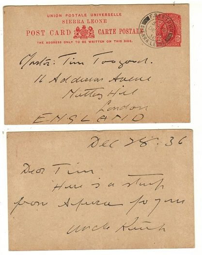 SIERRA LEONE - 1916 1 1/2d red PSC to UK used at FREETOWN.  H&G 15.