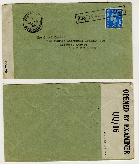 SIERRA LEONE - 1942 2 1/2d rate (GB adhesive) censored maritime cover to Capetown.