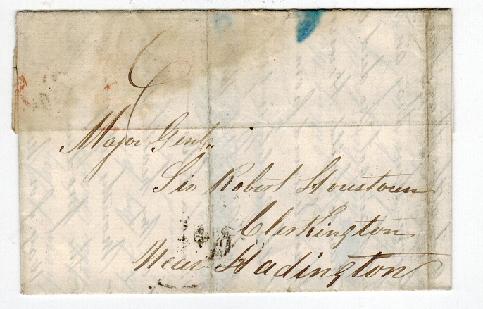 GRENADA - 1857 stampless entire to UK cancelled GRENADA.