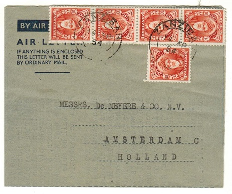 ZANZIBAR - 1954 50c rate use of FORMULA type air letter to Holland.