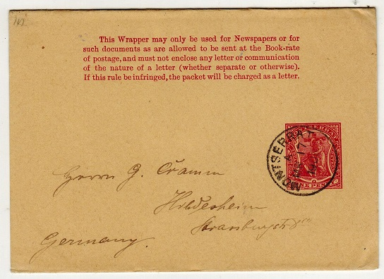 MONTSERRAT - 1903 1d carmine postal stationery wrapper used to Germany.  H&G 2.
