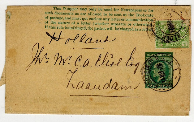 ORANGE RIVER COLONY - 1902 1/2d green uprated postal stationery wrapper to Holland.  H&G 1.