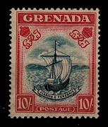 GRENADA - 1938 10/- steel blue and carmine. Fine mint. SG 163.