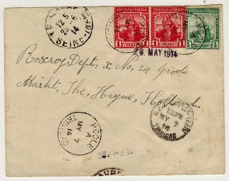 TRINIDAD AND TOBAGO - 1914 2 1/2d rate cover to Holland used at POOLE/TRINIDAD.