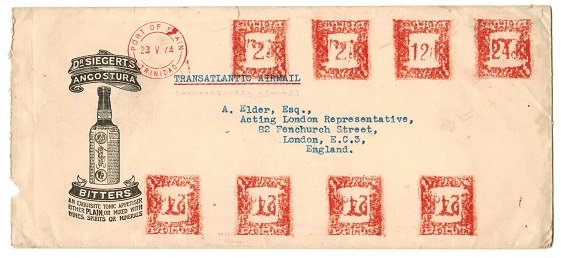 TRINIDAD AND TOBAGO - 1944 $1.36c rate censored illustrated meter mark cover to UK.